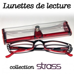 Lunettes loupe Strass rouge