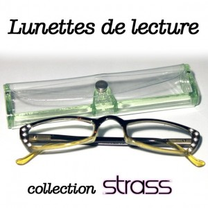 Lunettes loupe Strass verte